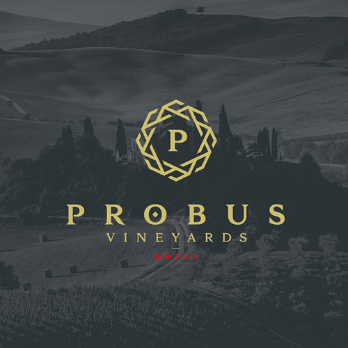 Traditional design with the title 'Probus Vineyards'
