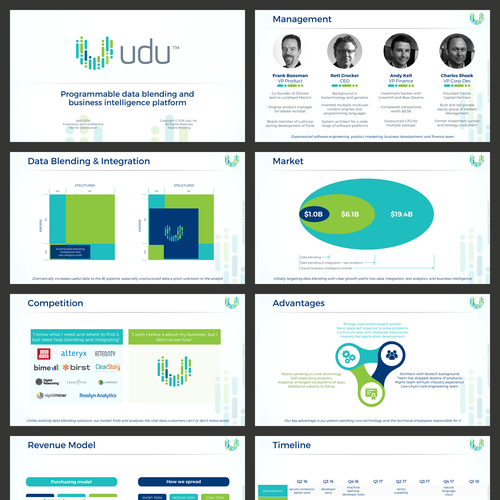 Green and blue design with the title 'Investment Presentation for a Paas Startup'
