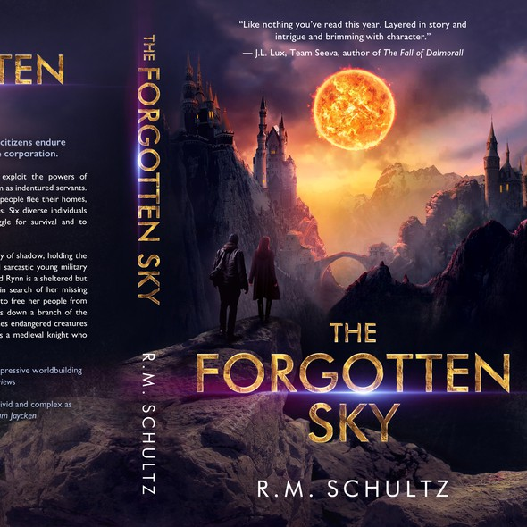 Medieval book cover with the title 'The Forgotten Sky'