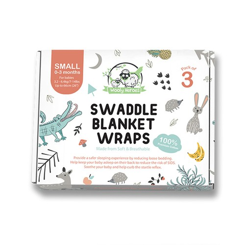 Animal packaging with the title 'Swaddle Blanket Package Design'