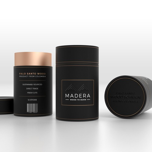 Luxury packaging with the title 'Packaging design for new high end palo santo brand'