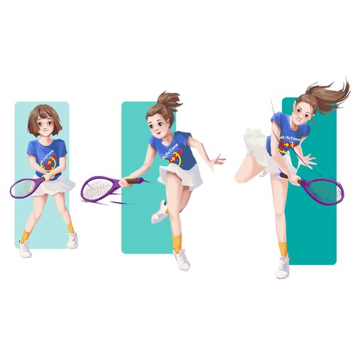 Girl artwork with the title 'tennis levels'