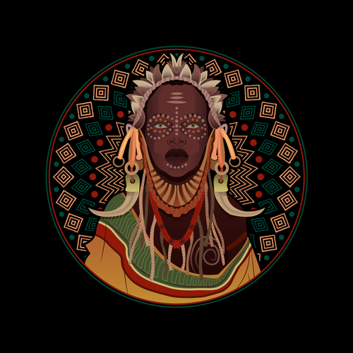 African illustration with the title 'Fulani Tribe Woman Illustration'