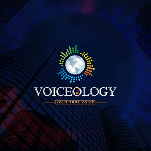 Abstract church logo with the title 'Voiceology'