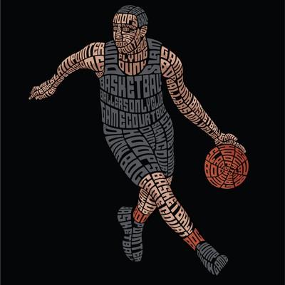 Basketball Player Typography Illustration