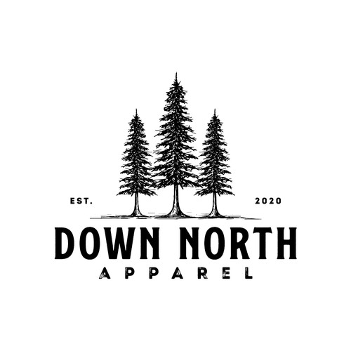 Fir tree logo with the title 'Down North Apparel'