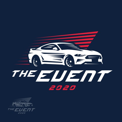 Muscle car design with the title 'The Event 2020 contest runner'