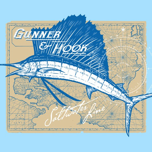 Fishing t-shirt with the title 'T_shirt Design for Gunner & Hook'