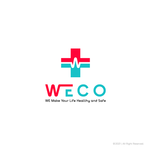 Red cross design with the title 'WECO logo'