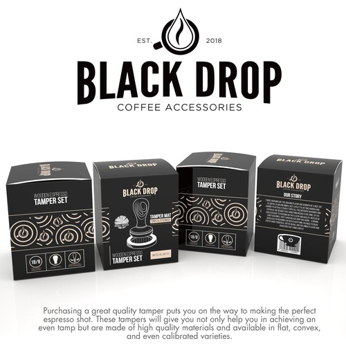 Simple packaging with the title 'PRODUCT PACKAGING FOR DBLACK DROP'