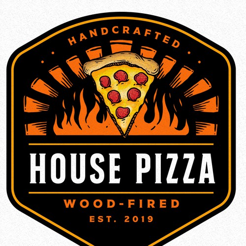 Pizzeria design with the title 'HOUSE PIZZA'