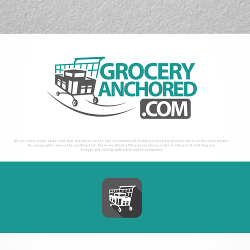 Grocery logo with the title 'great logo for groceryanchored.com'
