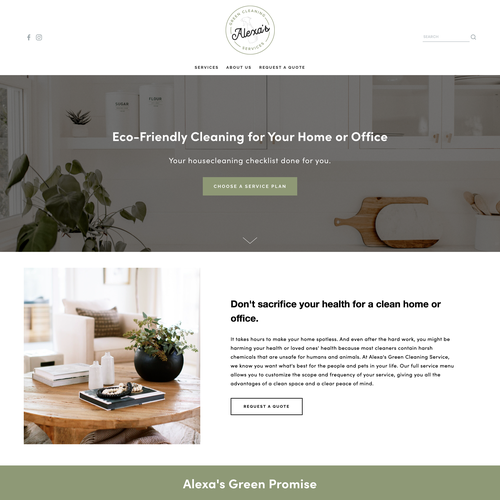 Branding website with the title 'Elevated Squarespace Design for Natural Cleaning Company, Alexa's Green Cleaning'