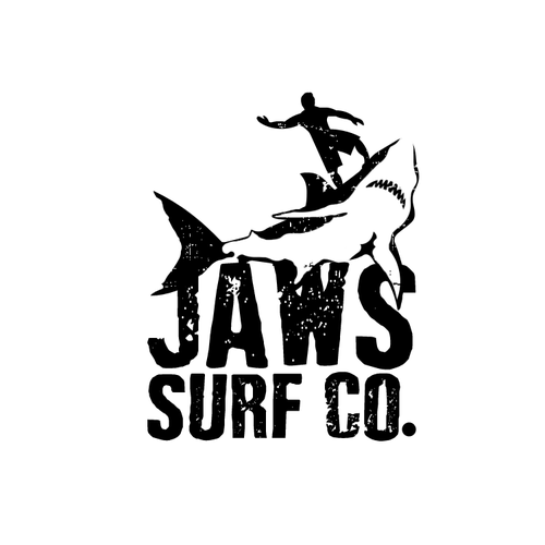 Surfer logo with the title 'Jaws Surf logo'