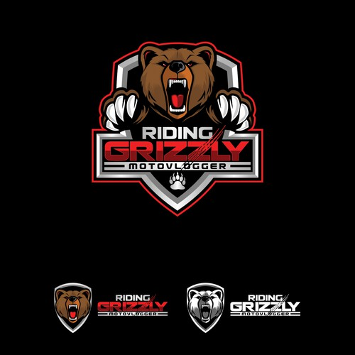 Badass design with the title 'RidingGrizzly Logo'