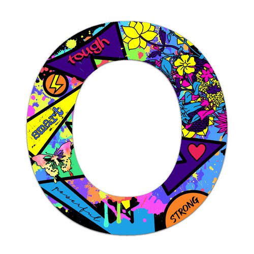 Bold illustration with the title 'Bold, fun and colorful letter O'