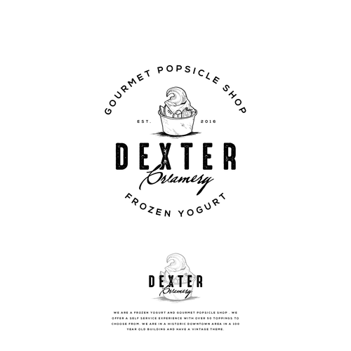Yogurt design with the title 'Logo Entry in contest : Dexter Creamery'