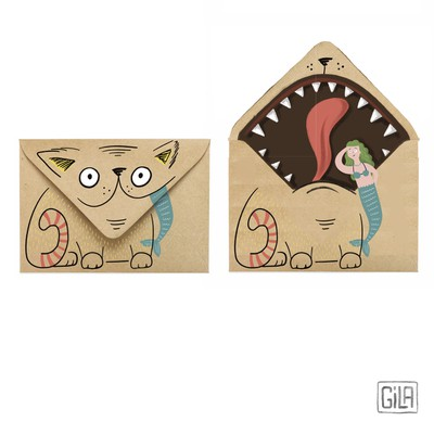 Illustrated funny envelopes