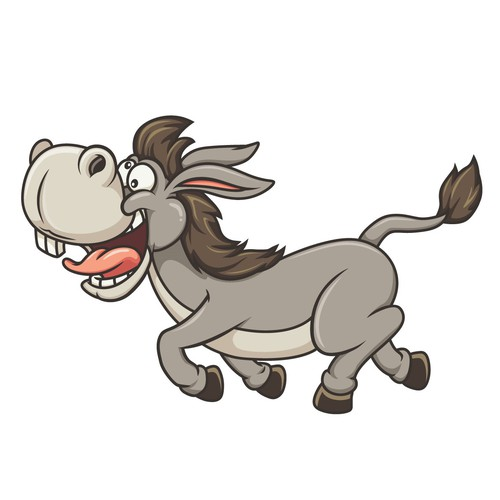 Donkey design with the title 'Goofy Donkey Cartoon Character for Pure Donkey'