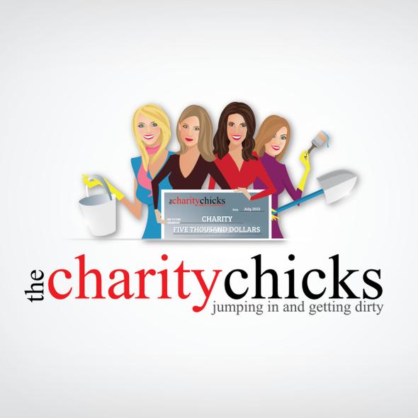 Girl design with the title 'Help The Charity Chicks with a new logo'