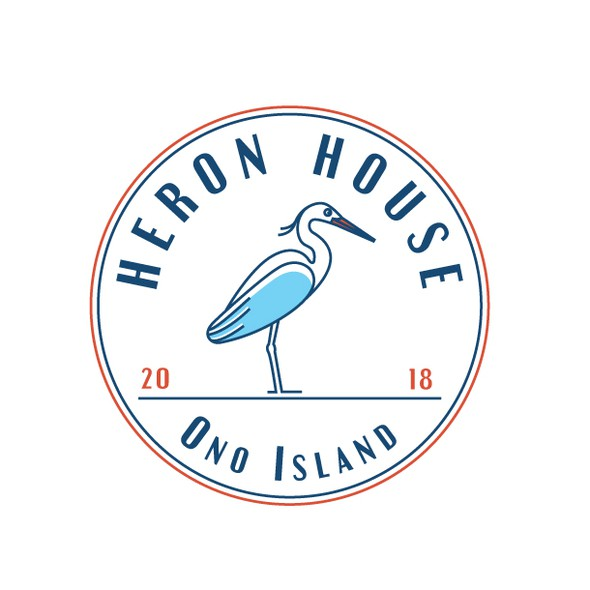 Heron design with the title 'Beach house logo'