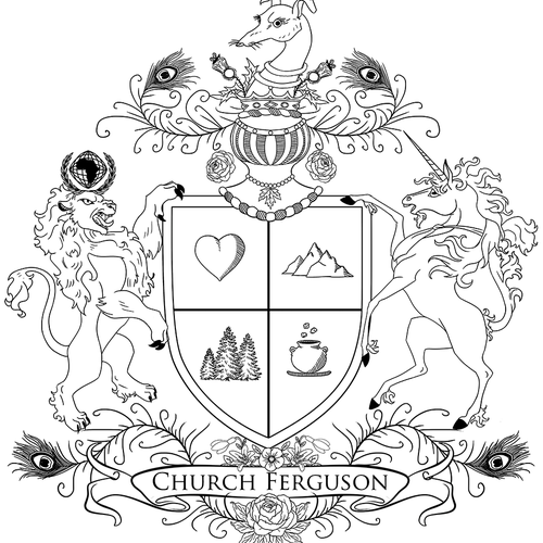 Coat of arms artwork with the title 'family family coat of arms concept'