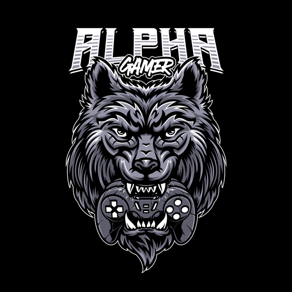 Wolf t-shirt with the title 'Wolf Bite Gamepad T-shirt Design'
