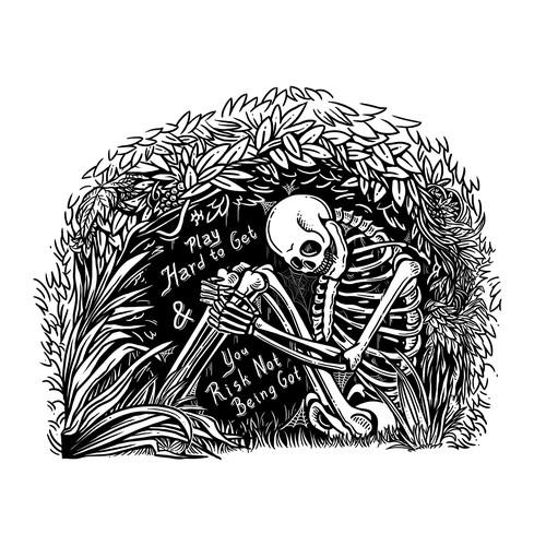 Black and white artwork with the title 'Black & White line art illustration'