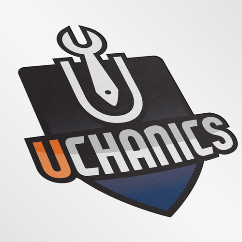 Mechanic logo with the title 'Uchanics for a phone app for finding mechanics that come to you to fix your car'