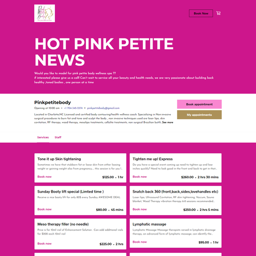 Massage design with the title 'SQUARE ONLINE STORE | Design for Pink Petite Body'