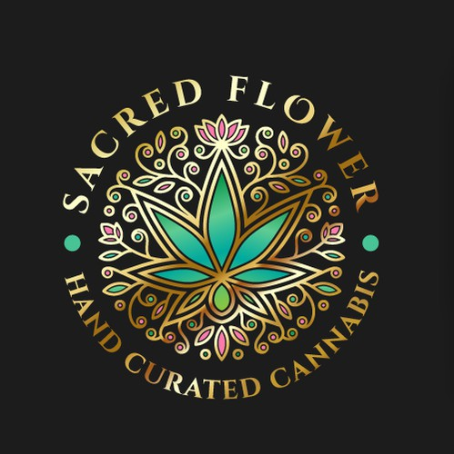 Symmetrical design with the title 'Discover elegant Logo design for Sacred Flower!'