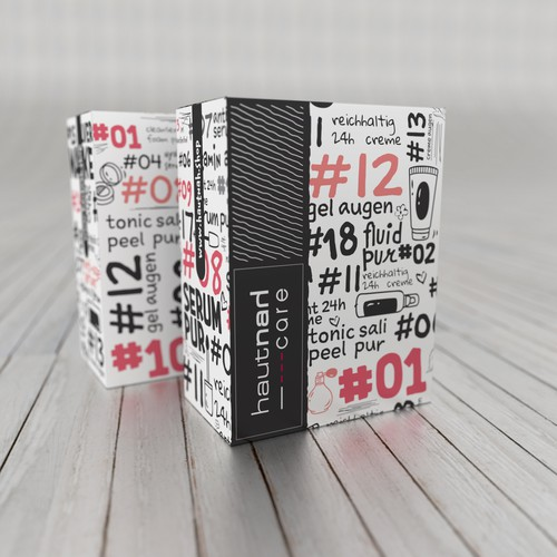Black and white packaging with the title 'Hautnah Care'