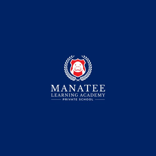Coat of arms design with the title 'Logo Design for Manatee Learning Academy'