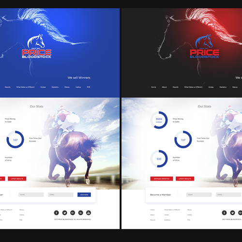Horse design with the title 'Horse breeders/trainers Landing Page'