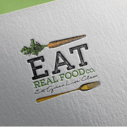 Carrot design with the title 'Logo for Eat Real Food Co.'