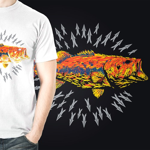 Fish t-shirt with the title 'Large Mouth Bass Illustration'
