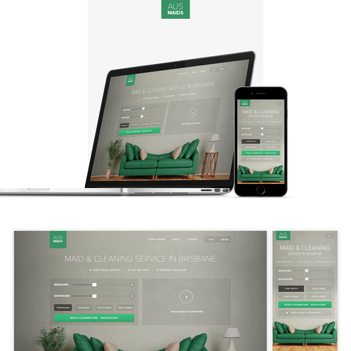 Mobile design with the title 'Website Design for a Cleaning Service'