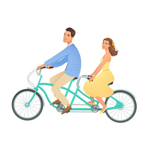 """Wedding illustration with the title 'Concept art for """"save the date card""""'"""