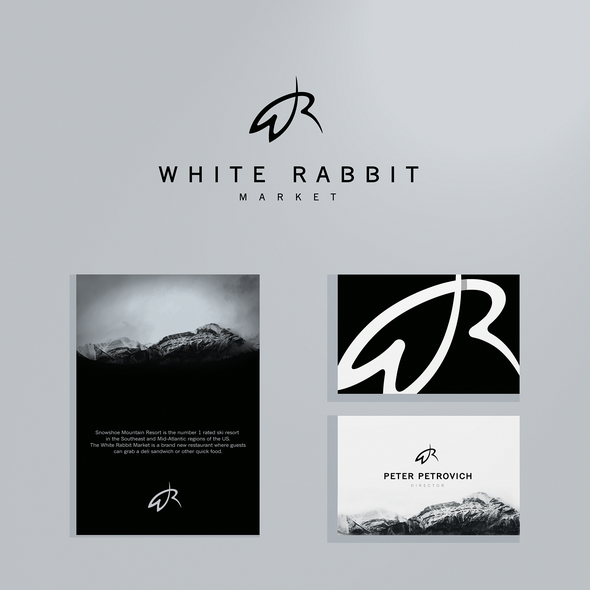 Single line design with the title 'White Rabbit'