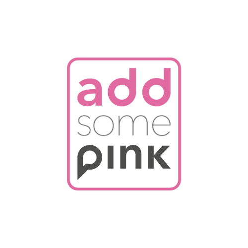 Gray and pink logo with the title 'Logo concept for a communication management company'
