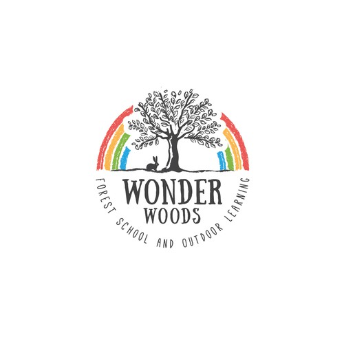 Rabbit design with the title 'Wonder Woods'