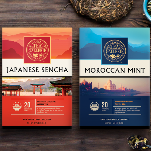 Display packaging with the title 'Tea boxes, packaging design'