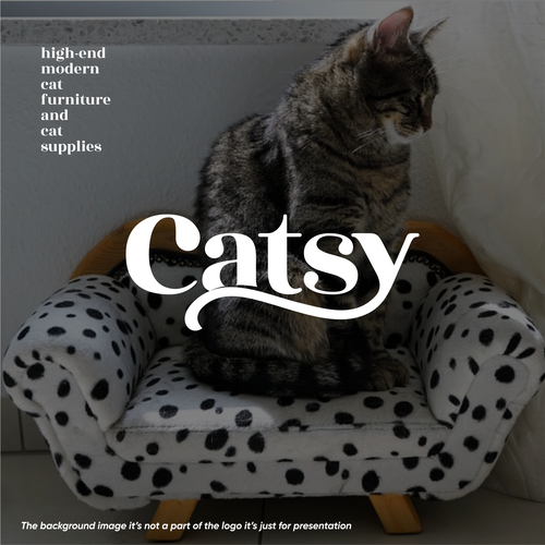Black cat design with the title 'Catsy'