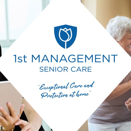 Senior living design with the title 'Facebook cover image for 1st Management Senior Care'