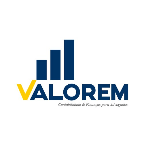 Progressive design with the title 'Logotipo: Valorem - Contabilidade & Finanças para Advogados'