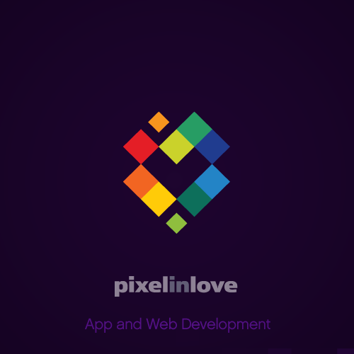 Heart logo with the title 'Logo design for Pixel In Love'