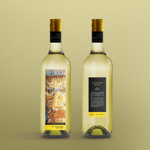 Wine packaging with the title 'Van Gogh museum wine label'