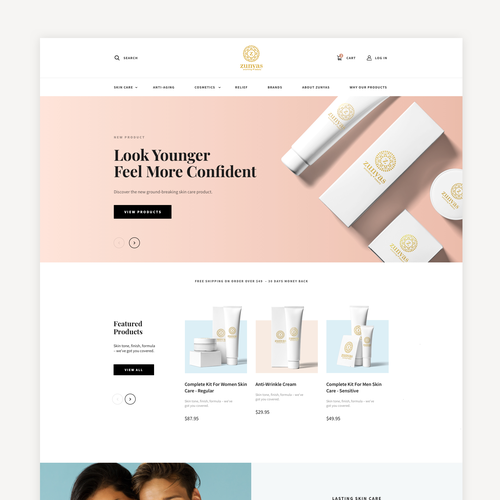 Sketch website with the title 'Cosmetic eCommerce Store'