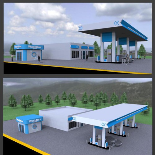 Presentation artwork with the title 'Create a fresh, eye-catching illustration of a laundromat add-on to a Petrol Filling Station'