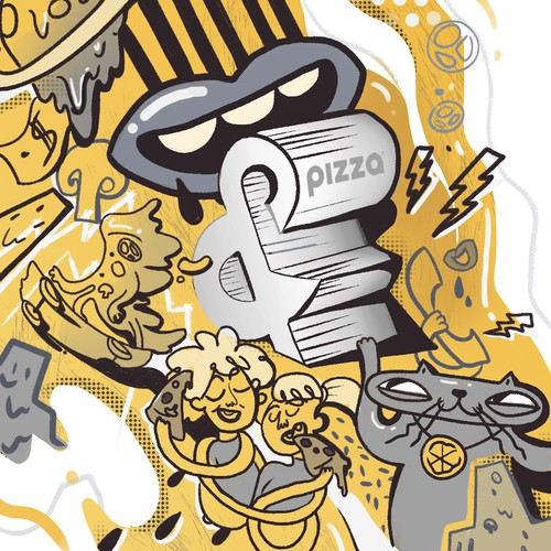 Street art illustration with the title 'Mural design for pizzeria'